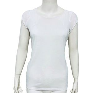 MOSSIMO | Women's White Semi Sheer Cap Sleeve Top